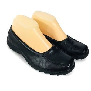 Simple Black Leather Light Weight Walking Shoes